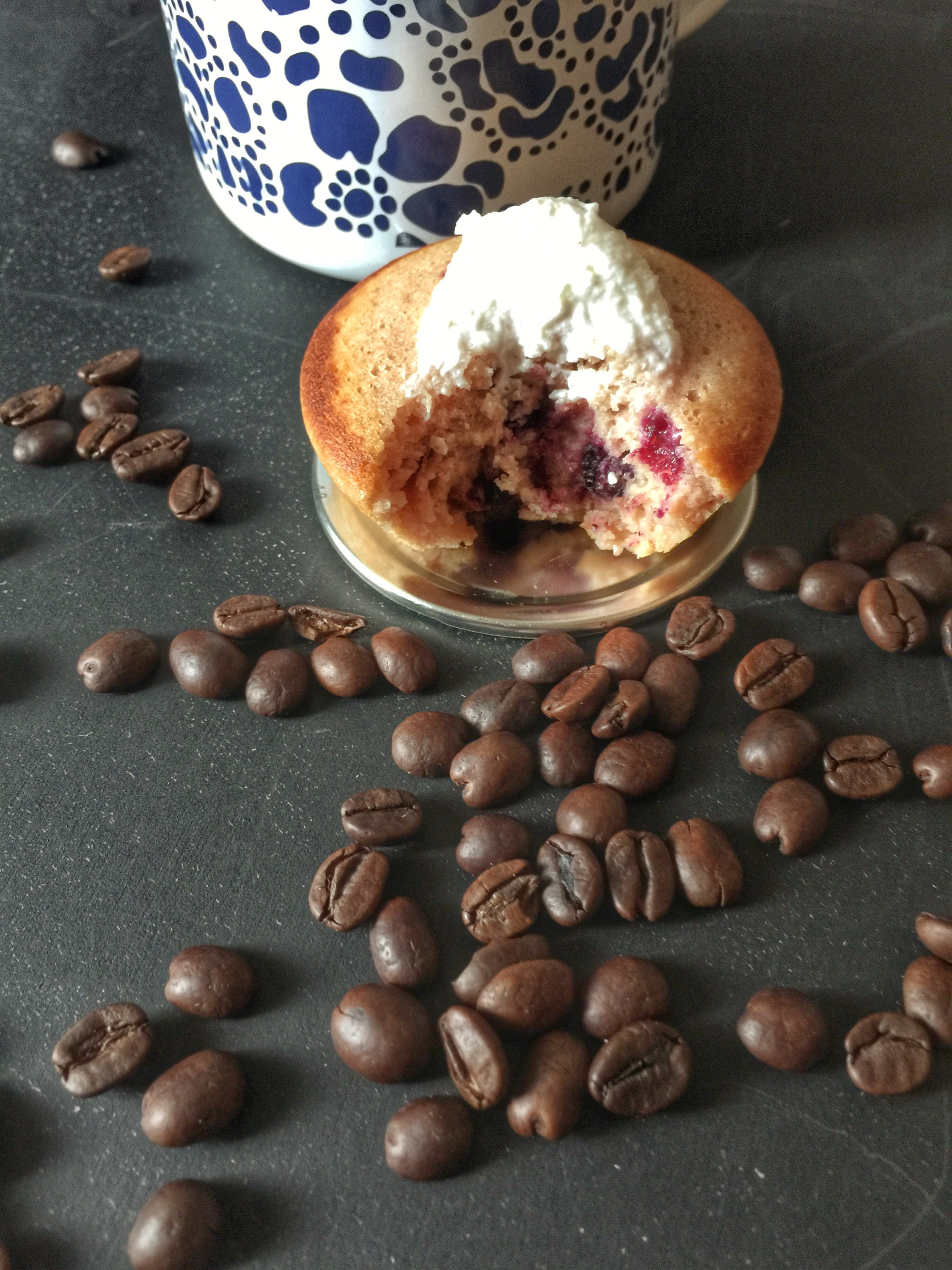 "Warm blueberry and pili ""cheese"" cupcakes? Yes, please!"